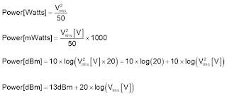 Shown are the calculations required to convert units of dBm into voltage