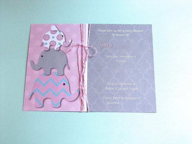 pink and aqua elephant baby shower invitations