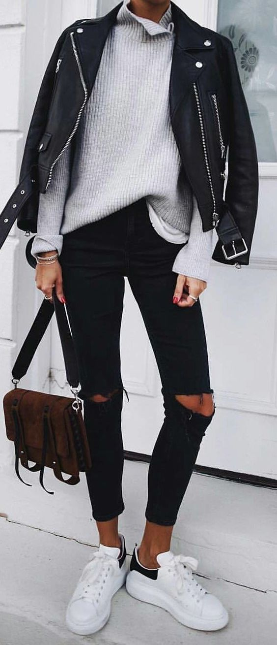 what to wear this winter : biker jacket + grey sweater + ripped jeans + bag + sneakers