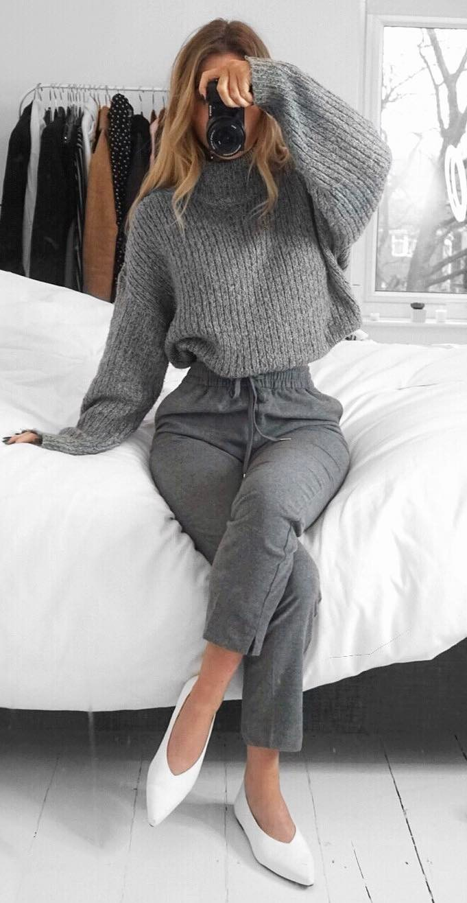 grey and white outfit inspiration