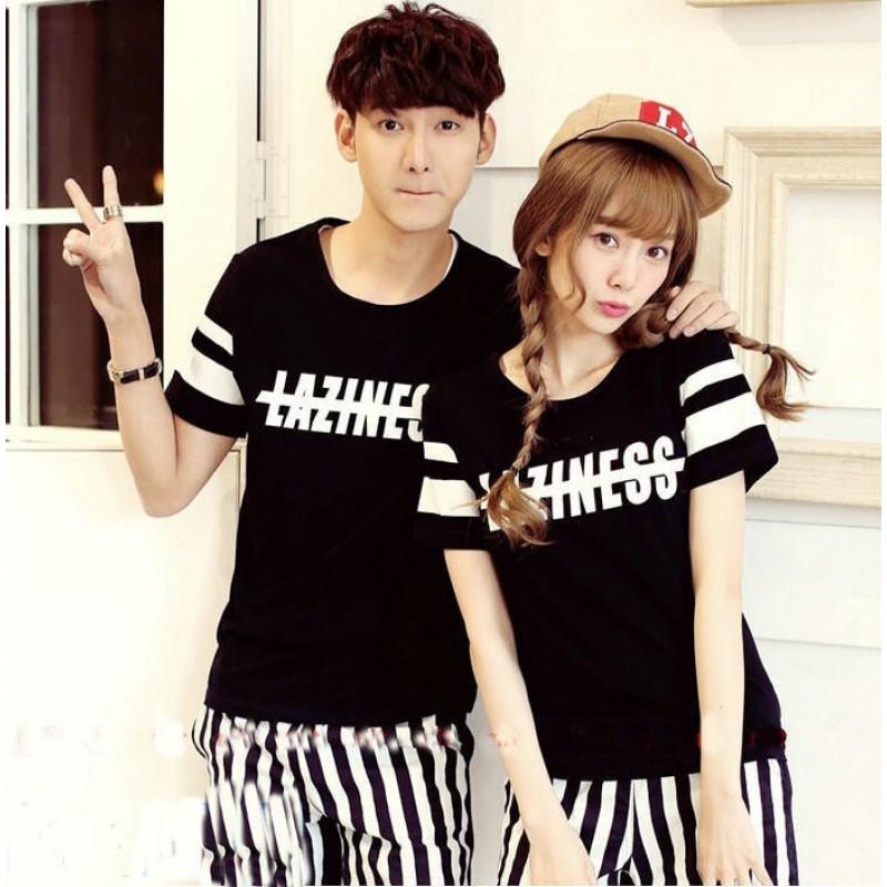 Baju Kaos Couple Lengan Pendek Warna Hitam Model Keren CP01