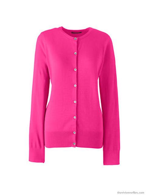 a hot pink cardigan