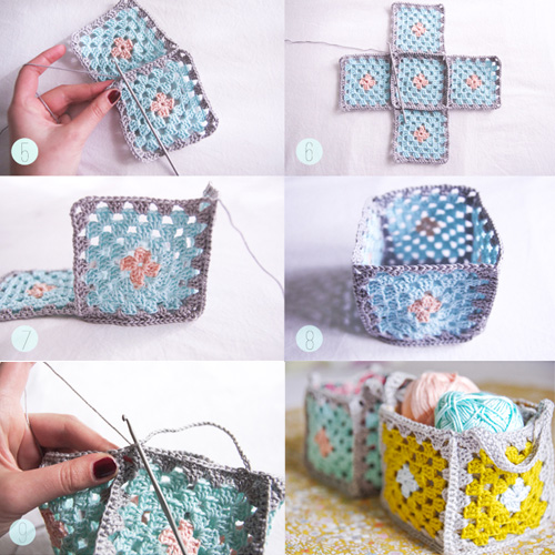 Mini Granny Square Crochet Baskets - Tutorial