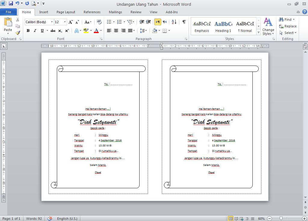 Contoh Undangan Ulang Tahun / ULTAH File Microsoft Word