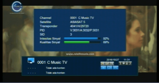 Channel C Music TV di Satelit Asiasat 5