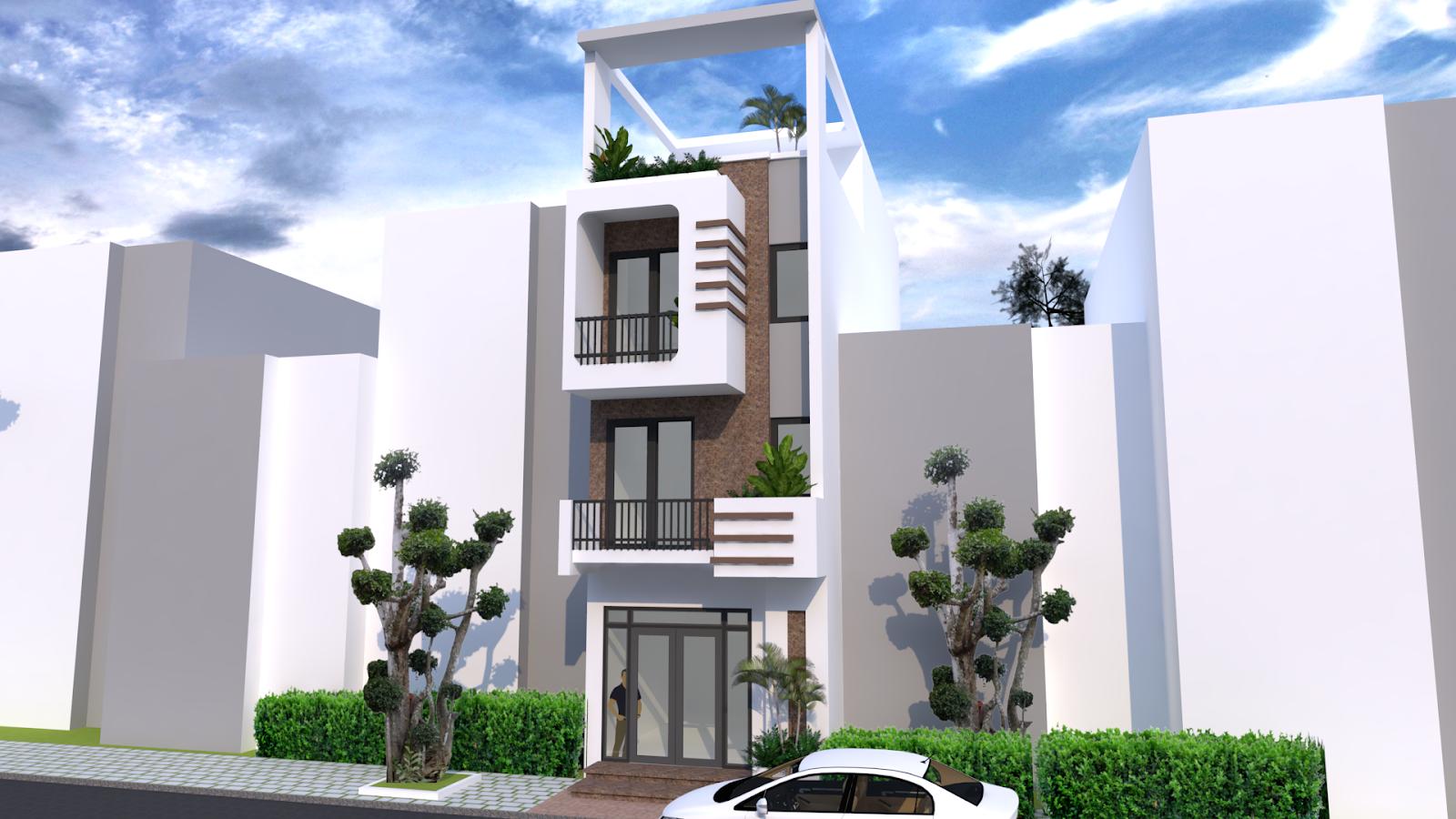 Sketchup 4 Story Narrow House Plan 4.2m