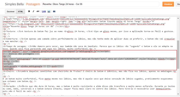 Como colocar anúncios dentro das postagens no blogger