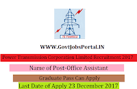 Odisha Power Transmission Corporation Limited Recruitment 2017- 60 Office Assistant