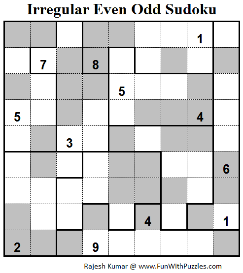 Irregular Even Odd Sudoku (Fun With Sudoku #81)