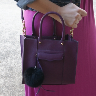 AwayFromTheBlue | Purple Rebecca Minkoff mini MAB tote bag pink dress