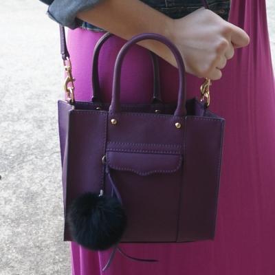 AwayFromTheBlue | Purple Rebecca Minkoff mini MAB tote bag pink dress
