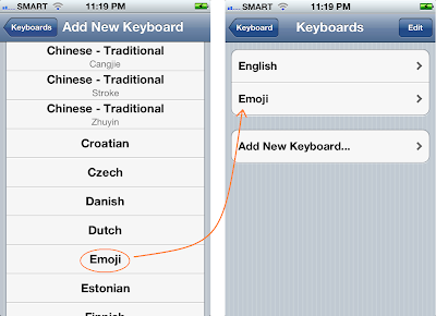 Screen shots of where Emoji keyboard will be enabled in iPhone 4S Keyboard Settings.