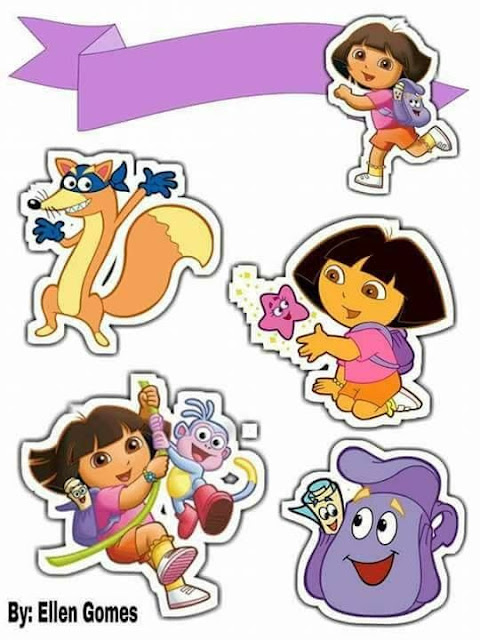 Dora the Explorer Party Free Printable Cake Toppers.
