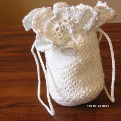 White and Silver Crochet Lace Bag - Handmade by Ruth Sandra Sperling of RSS Designs In Fiber