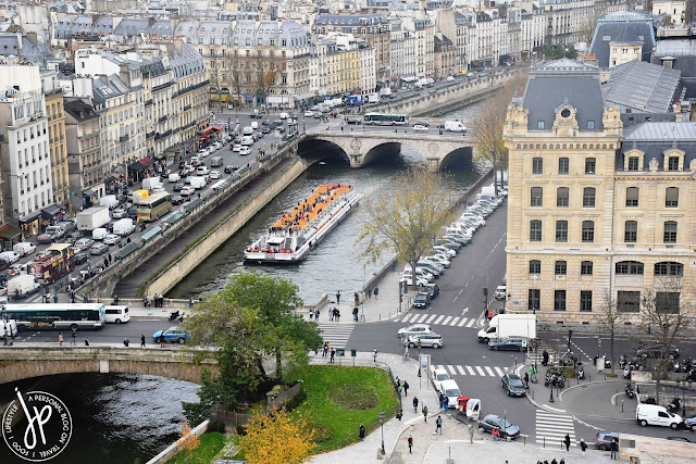 cruise on river, parisian buildings, cars