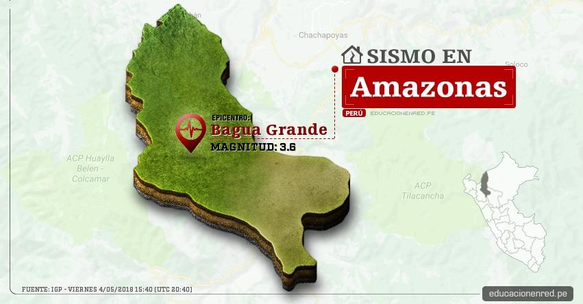 Temblor en Amazonas de magnitud 3.6 (Hoy Viernes 4 Mayo 2018) Sismo EPICENTRO Bagua Grande - Utcubamba - IGP - www.igp.gob.pe