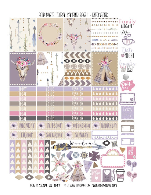 Free Printable Reformatted ECLP Pastel Tribal Sampler Page 1 from myplannerenvy.com