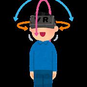 VRゴーグルのトラッキングのイラスト(3DoF)