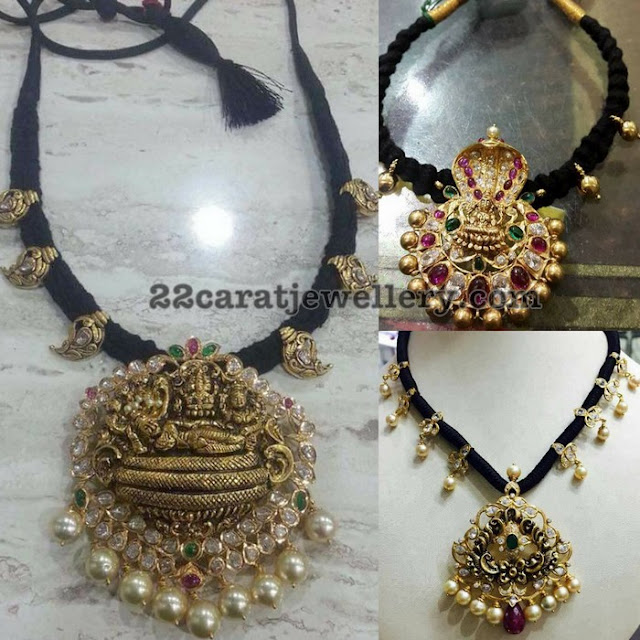 Black Thread Necklaces with Nakshi Pendants