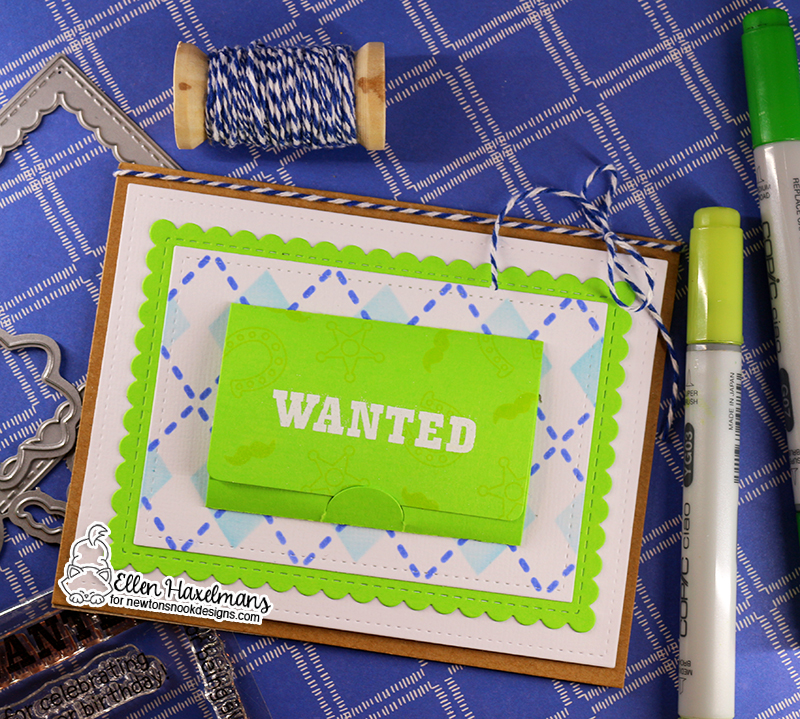 Wanted! Cowboy Kitty Interactive Birthday Card by Ellen Haxelmans | Newton Rides West Stamp Set and Argyle Stencil Set by Newton's Nook Designs #newtonsnook #handmade