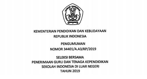 SELEKSI BERSAMA PENERIMAAN GURU DAN TENAGA KEPENDIDIKAN SILN TAHUN 2019