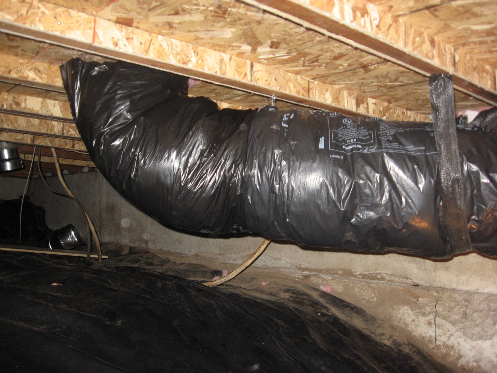 Crawl Space Duct : Energy conservation how to where failed flex ducts in a