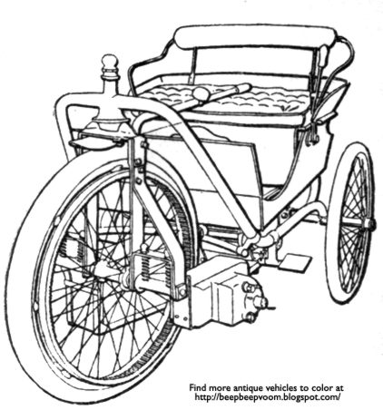 Description Of The Coloring Page A Novelty In Electric Appliances Power For Operating Light Vehicle Is Found Barrow Tricycle