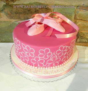 Pink girls ballet birthday cake