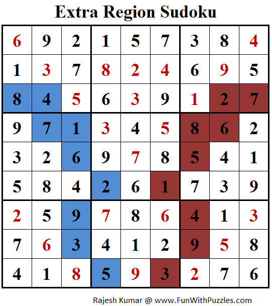 Extra Region Sudoku (Fun With Sudoku #161) Answer