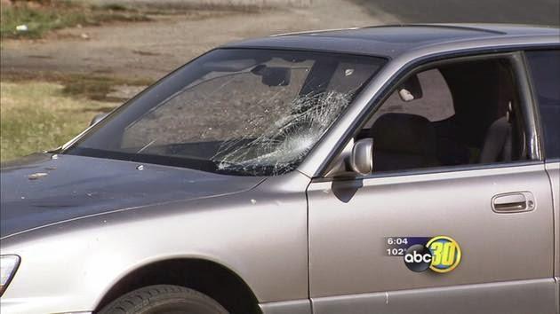 fresno car crash pedestrian collision madison dewitt avenue silver sedan