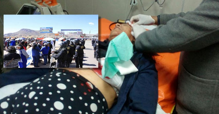 Una docente herida tras enfrentamiento con policías en Puno