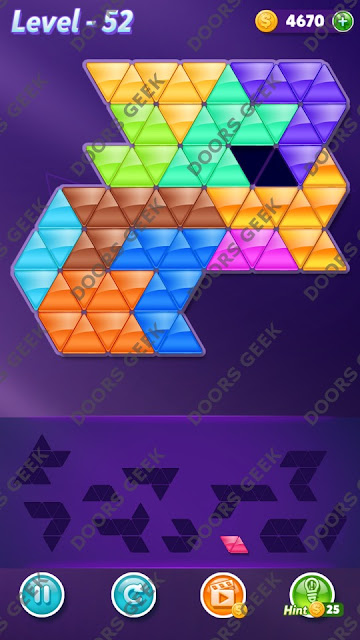 Block! Triangle Puzzle Challenger Level 52 Solution, Cheats, Walkthrough for Android, iPhone, iPad and iPod