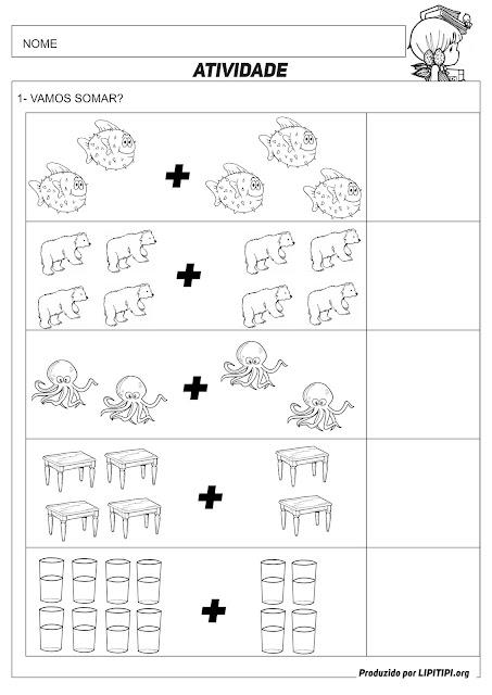 Atividade Adição com Figuras Primeiro Ciclo Fundamental I