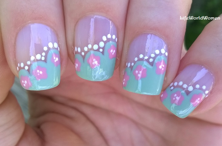 Romantic Wavy Side French Manicure With Flower Design Toothpick Nail Art