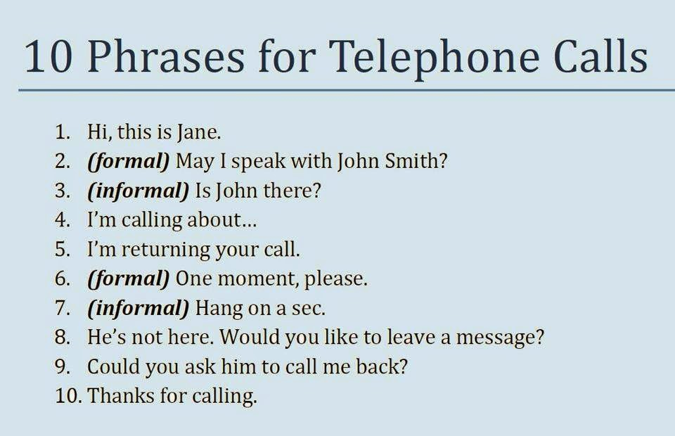 most useful telephone vocabulary and phrases list in
