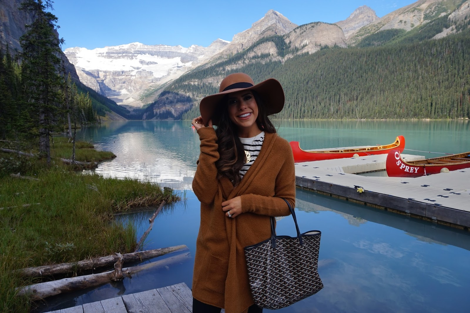emily gemma, the sweetest thing blog, travel blogger, lake louise, BANFF trip, blog posts with lake louise and banff, review of fairmont banff fairmont lake louise, beautiful places in Canada, montaign lake canada, emily gemma travel blog, emily gemma canada, airport travel fashion, travel outfit idea, cute airport outfit idea, outfits for fall airport, GOYARD st louis PM black chevron, louis vuitton keep all 55, ,pinterest travel fashion, pinterest airport outfit ideas, pinterest travel location, pinterest beautiful places, pinterest travel review