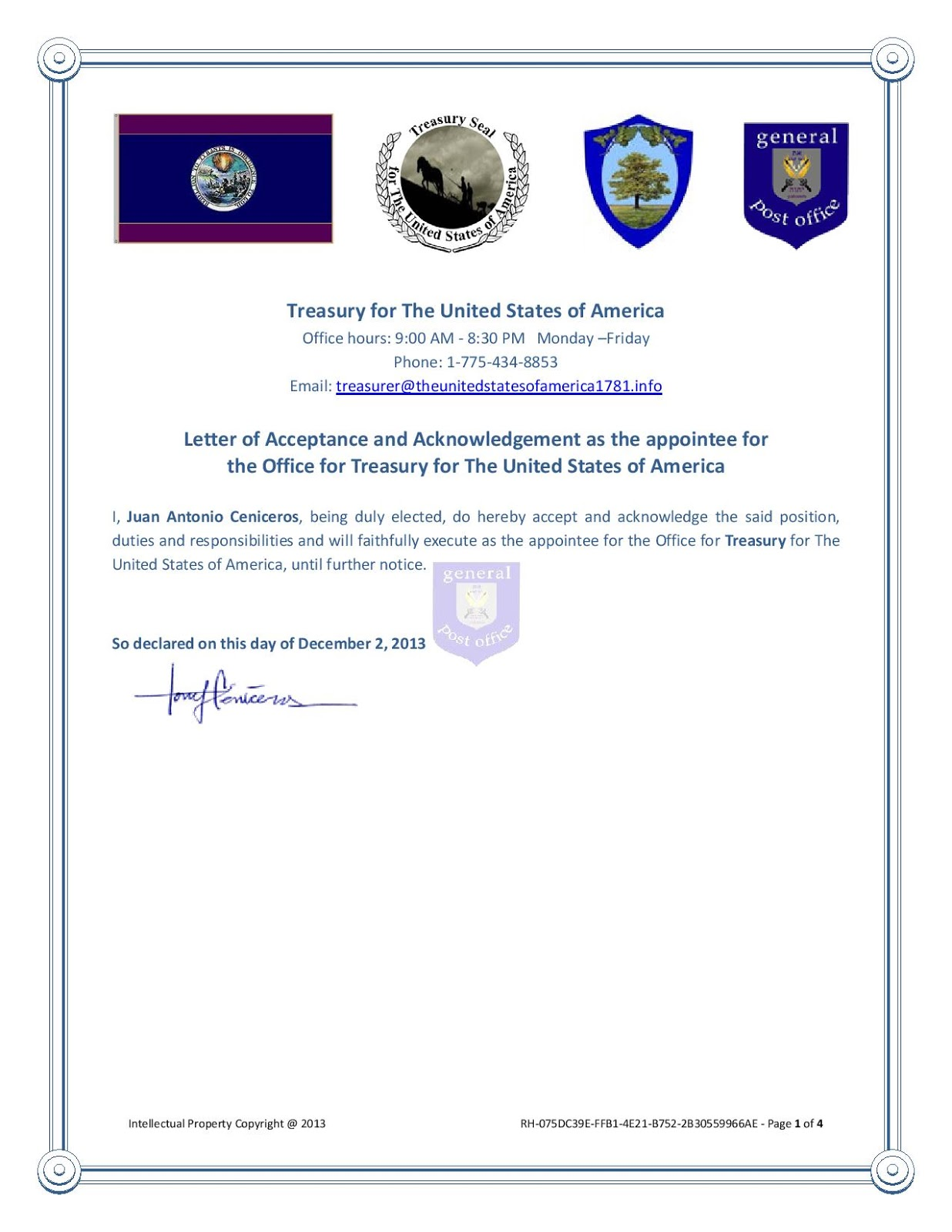 The office of the Treasury for the Government of The United States of America hereby introduces its newest version of its legal tender! Juan-Antonio-Ceniceros-Acceptance-and-Acknowledgement-Treasury-page-001