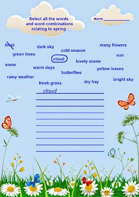 English for kids worksheet, spring
