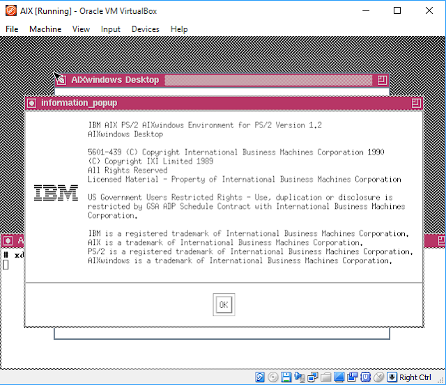 Supratim Sanyal's Blog: IBM AIX PS/2 1.3 for Intel i386 running X11 X Windows Motif Desktop in Virtual Box
