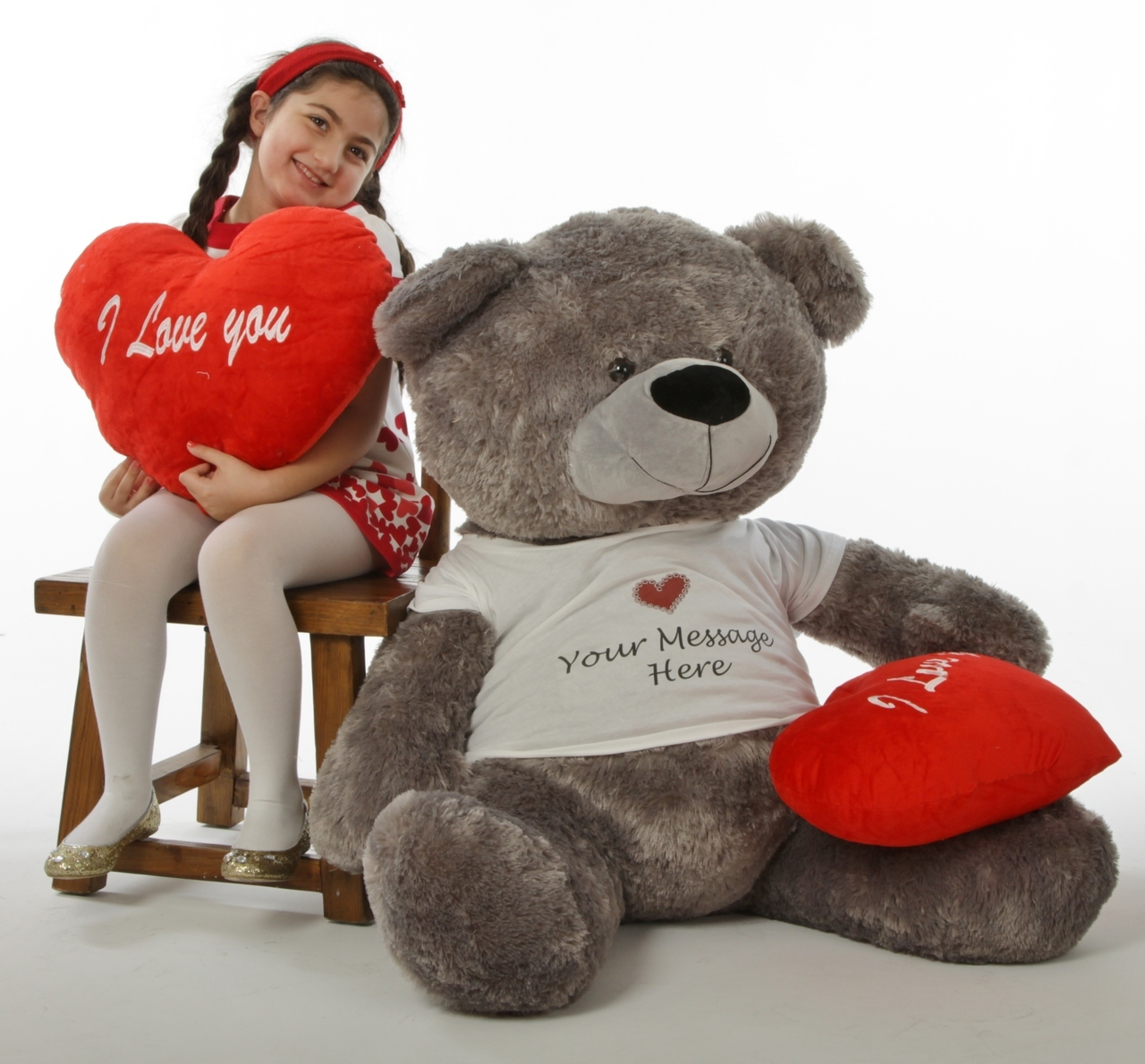 Perfectly Personalized... Giant Teddy Bears With Your 3 5 Word Message  Printed On Their Shirts