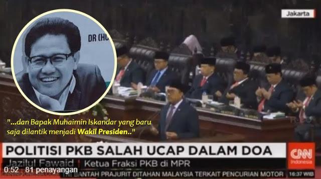 Pimpin Do'a MPR, Ketua Fraksi PKB Salah Sebut Muhamimin Iskandar Dilantik Sebagai Wakil Presiden