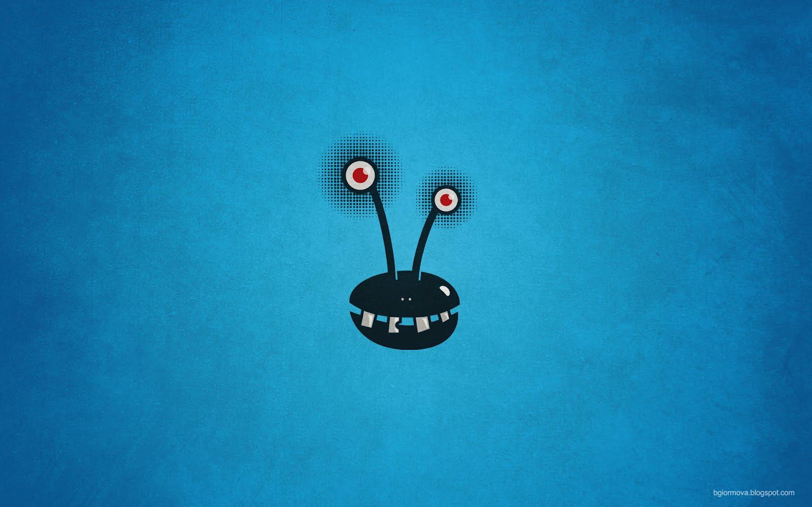 My grinning mind funny halftone alien monster - Crazy cartoon wallpaper ...