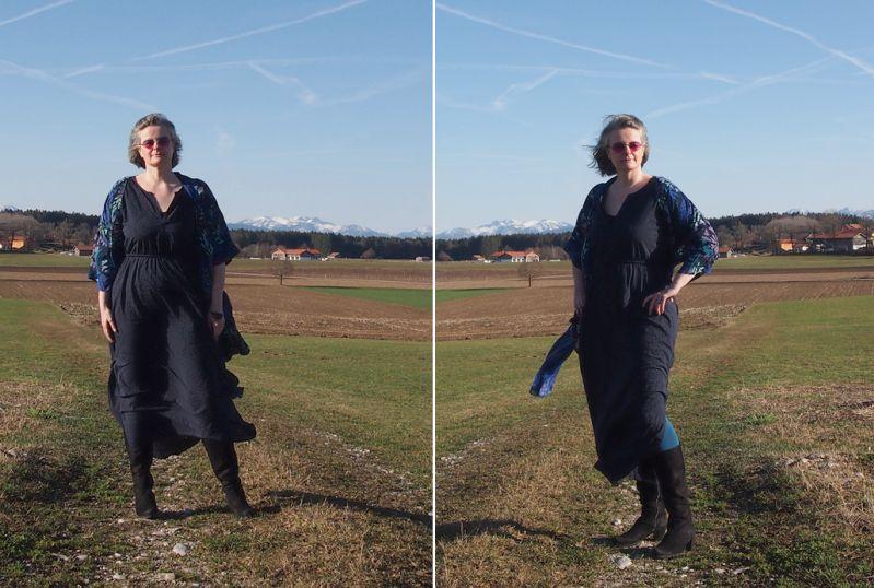 Im Maxikleid mit Tunika kombiniert dem Winter trotzen