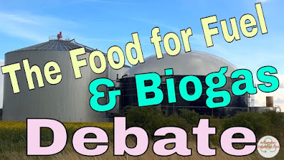 Image illustrates the food for fuel biogas debate.