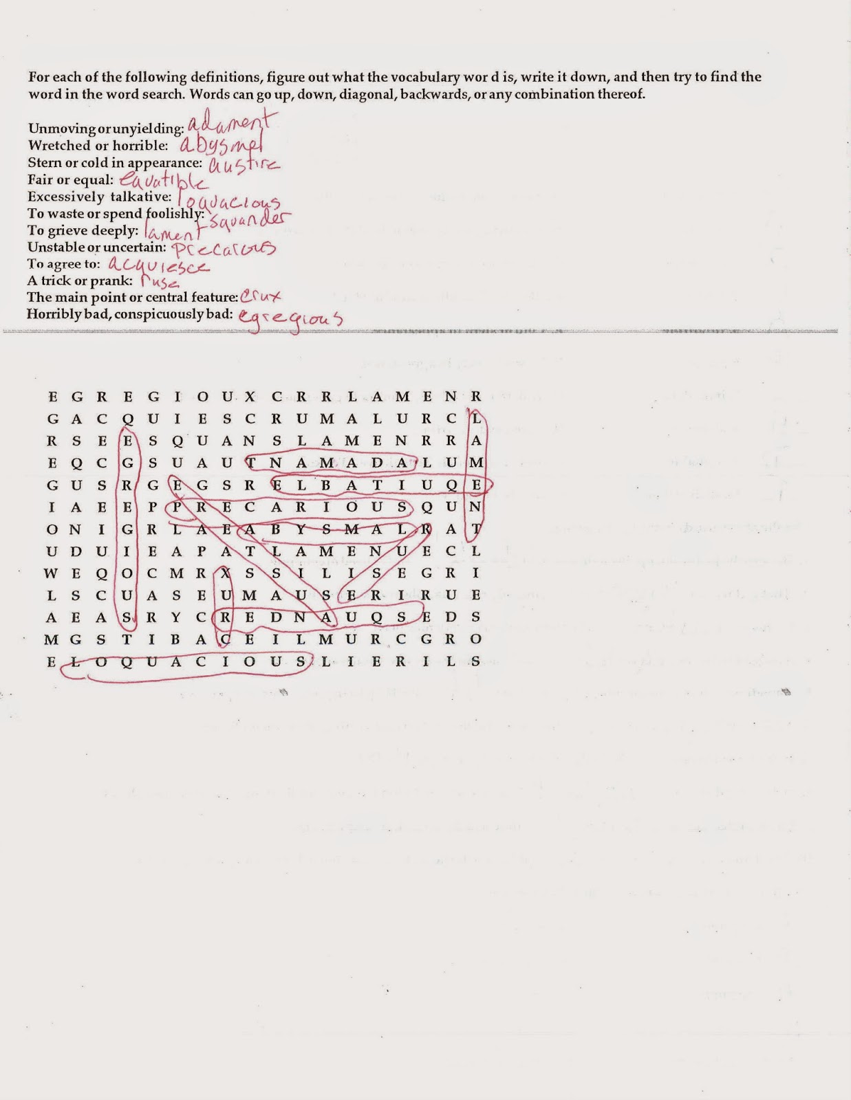 English I 10 20 14 Week 6 Practice Quiz Answer Key Parts 1 And 2