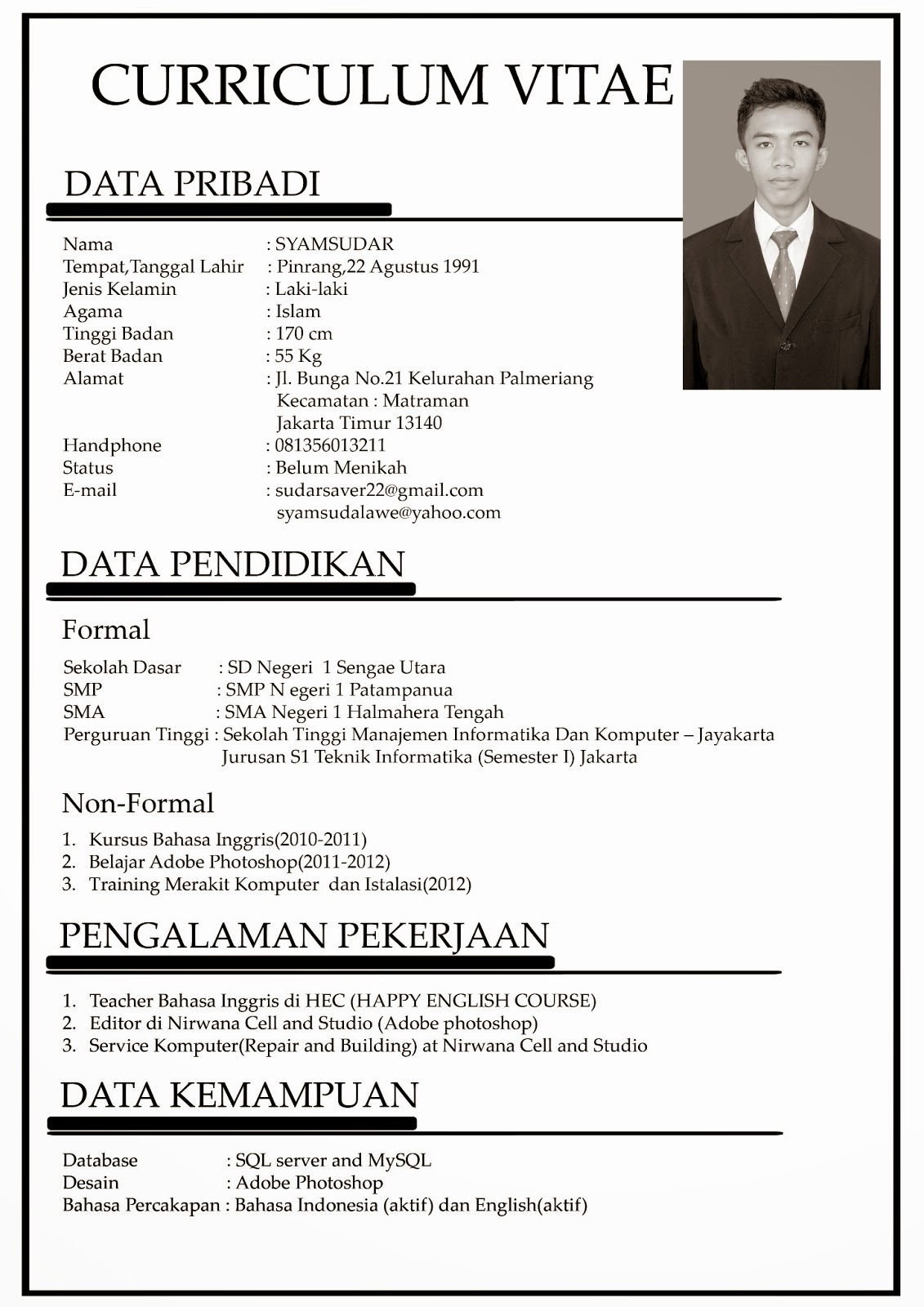 Curriculum Vitae Dalam English Sample Resume Service
