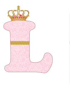 Abecedario Rosa con Corona. Pink Alphabet with Crown.