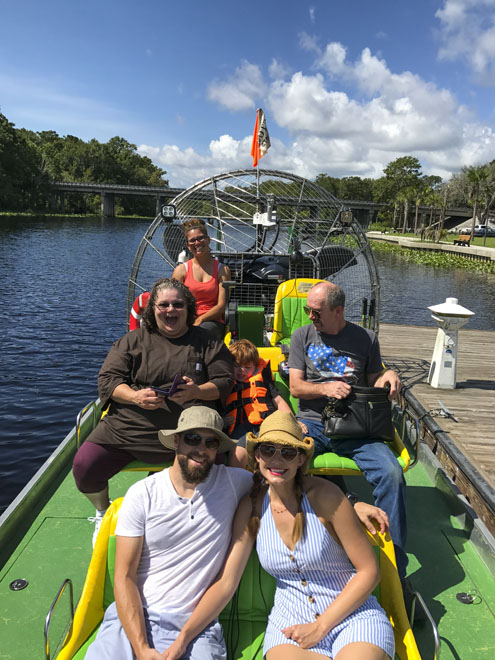Amy West and husband on the Sea Serpent air boat