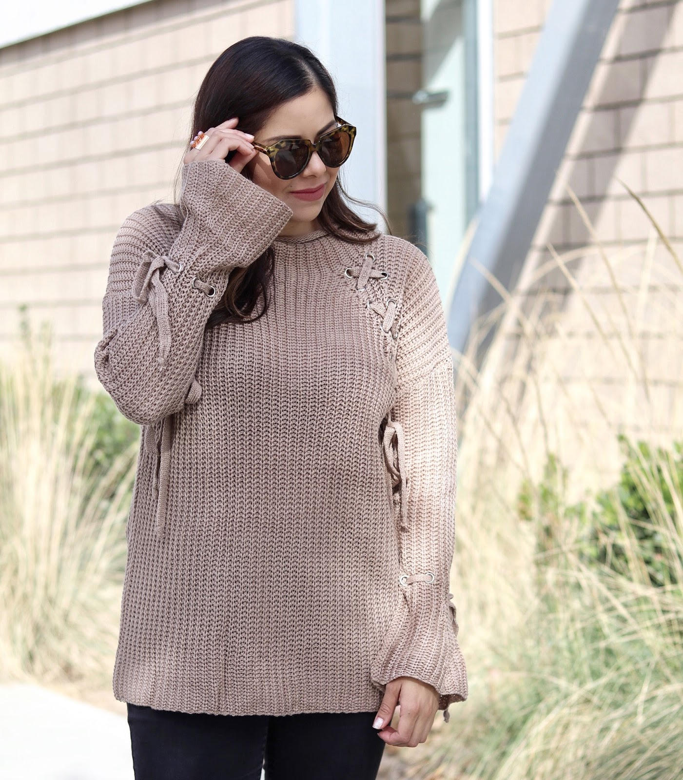 top san diego blogger, tobi sweater tunic, taupe sweater