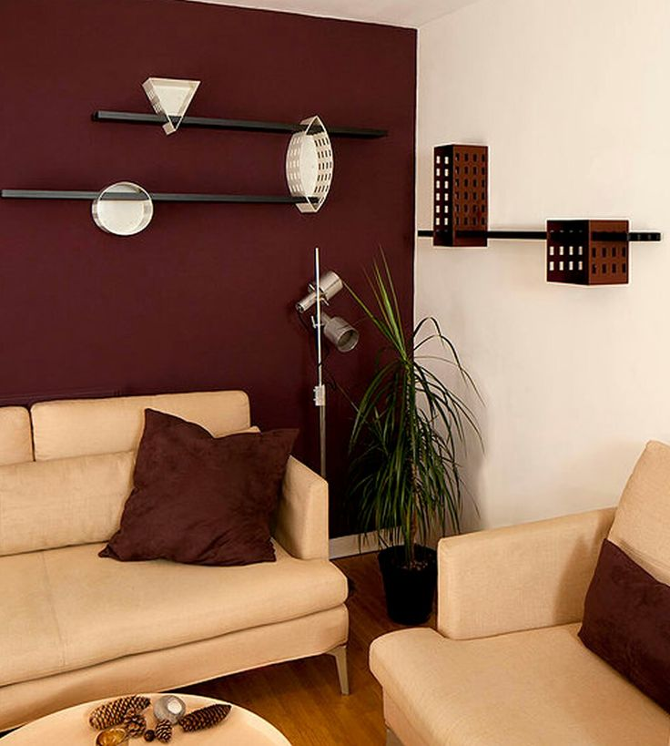 Living Room Dark Paint Color Ideas With Accent Wall And Light Cream Sectional Seater